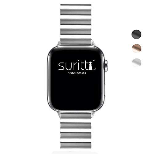 Suritt ® Correa para Apple Watch de eslabones Fabricada en Acero Inoxidable Berlin (Negro - Plata - Oro)(Series 1, 2, 3, 4 y 5) (42mm / 44mm, Silver)