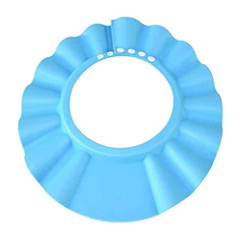 Gwill - Gorro de baño con protección para ducha, suave, ajustable, para bebés, niños, color azul