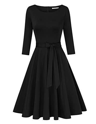 KOJOOIN 1950er Vintage Retro Cocktailkleid Rockabilly Kleid Brautjungfernkleider Abendkleider mit Gürtel(Verpackung MEHRWEG)