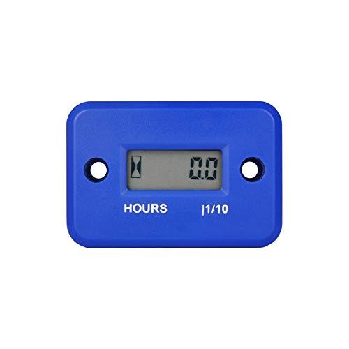 Runleader Digital LCD Waterproof Hour Meter for Small Engine,Track Oil Change Intervals, Generator,Lawn Mower,Outboard,ATV,Snow blowers,Marine,Dirt Ski ,Motorcycle(HM006A-BU)
