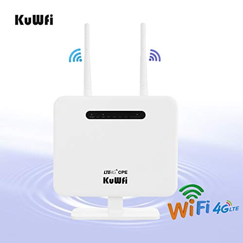 KuWFi 4G LTE Mobile WiFi Hotspot Unlocked Travel Partner Wireless 4G Router with SIM Card Slot Support LTE FDD B2/B4/B5/B12/B17 Network Band for AT&T/T-Mobile
