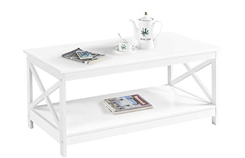 Yaheetech Table Basse de Salon en Bois Moderne Pied X avec 1 Étagère de Rangement Ouvert Meuble de Salon Bureau Chambre 100 x 54,5 x 45 cm (White)
