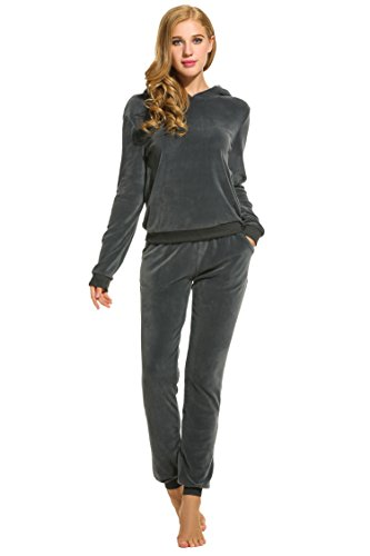Hotouch Women's Athletic 2 Pcs Hoodie & Sweatpants Tracksuit Charcoal S