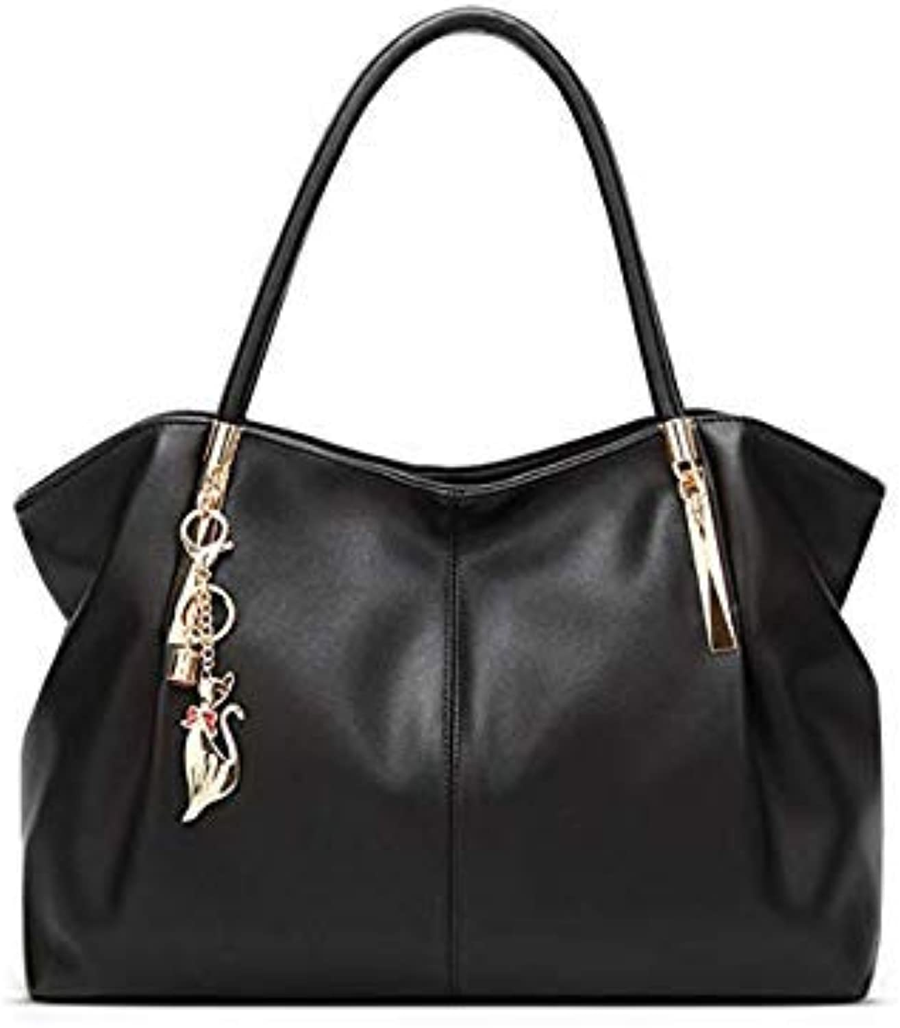Bloomerang FangNymph Brand New Fahion Large Red Soft Leather Shoulder Hand Bags for Women Luxury Ladies Tote Bag Bucket Handbags Girls color Black About 39CM 15CM 25CM