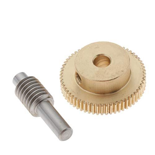 H HILABEE 0,5 Modul Schneckenrad aus Messing, Schneckenwelle, Zahnwellen-Set 60 Schnecken-Zahnrad