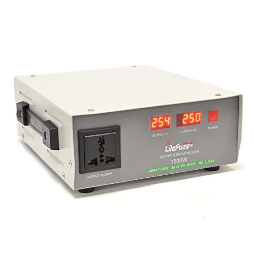 LiteFuze Transformador de Voltaje automático de 1500 vatios - Step Up - 110 V/220 V - Protección contra interruptores - Heavy Duty/ - Tecnología de detección de vatios - Ultra...