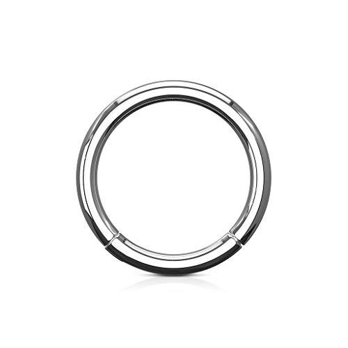 Trend Agent Piercing Ring Septum Clicker SEGMENTRING Nasenring Damen Herren SCHMUCK Chirurgenstahl Ohrring 1.2 x 7mm Silber - Chirurgenstahl