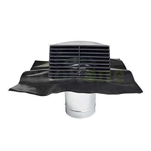 Standard-Dachhaube Ø 150 mm | ab 45° | Universal-Bleipfanne und Kunststoff grau