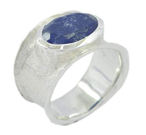 riyo Designer 925er Sterlingsilber-klassischer echter Blauer Ring, Lapislazuli-Blauer Edelstein-Silberring