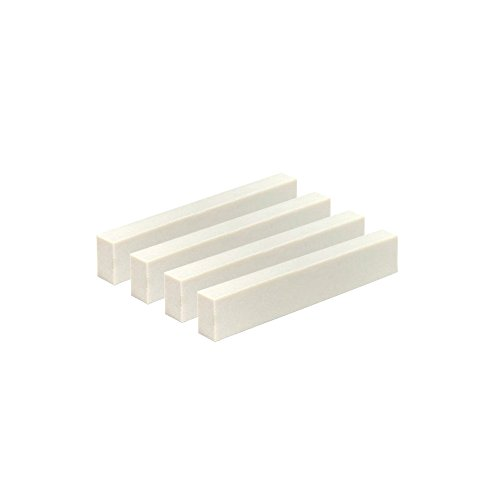 Timiy Pack of 4Pcs White DIY Guitar Bridge Nut Blank Set Made of Real Cattle Bone for Acoustic Classical Guitar