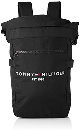 Tommy Hilfiger Herren TH Established Rolltop Backpack Rucksack, Schwarz, Medium
