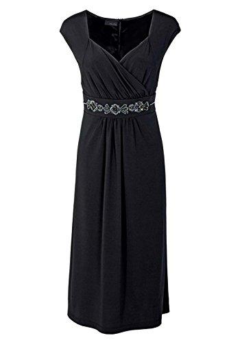 M.I.M. Damen-Kleid Abendkleid mit Perlen Schwarz Größe 56