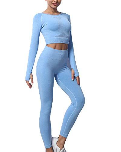 Mujer Sin costura Traje de Yoga Compresión Tejido de punto Chándal de 2 piezas Fitness Leggings ajustados Y Top corto de manga larga con agujero para el pulgar Conjunto de ropa deportiva de yoga