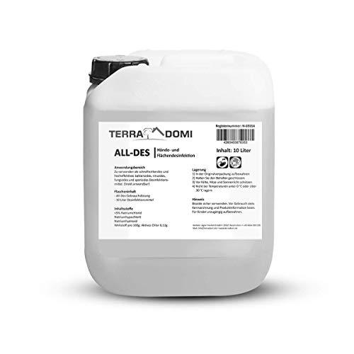 TerraDomi All-Des 10 Liter ohne Parfüm schnell Desinfektionsmittel gegen 99,9 aller Viren, Bakterien, Pilze oder Sporen, für Hände und Flächendesinfektion, Made in Germany