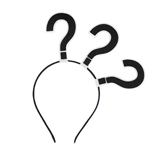STOBOK Question Mark Headband Party Hair Hoop Novelty Headwear Hair Band Party hat Costume Favors Supplies (Black)