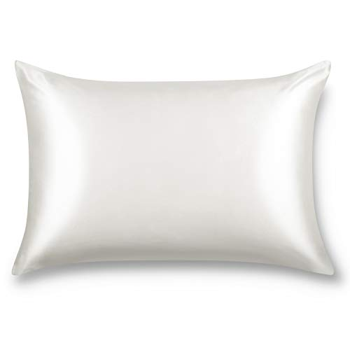 ALASKA BEAR 100% Seide Kissenbezug, 50x75 cm, 19 Momme mit Verstecktem Reißverschluss, Fadenzahl 600 Maulbeerseide, Hypoallergen Seiden Kissenhülle, 1 Stück (Elfenbein)
