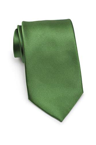 Parsley Seidenkrawatte, einfarbige Krawatte verschiedene Farben, reine Seide, 8,5 cm breit, Handarbeit (Moosgrün)
