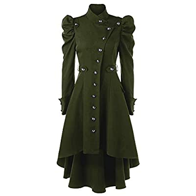 Vintage Womens Steampunk Victorian Swallow Tail Long Trench Coat Jacket Thin Outwear Green