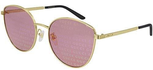 Gucci Occhiali da sole GG0807SA 004 occhiali Donna colore Oro lente rosa taglia 58 mm