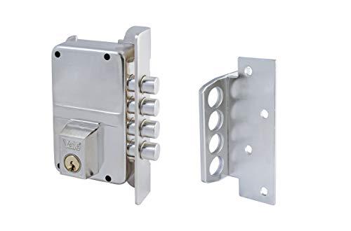 Yale 3010015 Cerradura de Sobreponer Alta Seguridad, Niquelado, Entrada 40 mm Derecha