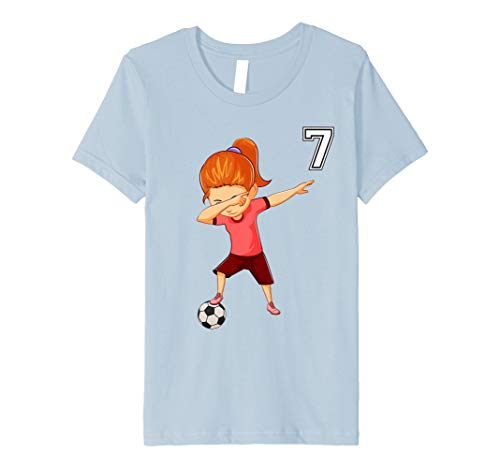 Kids Soccer Shirt Girls Funny Dabbing Tee Gifts for 7 Year Old 8 Baby Blue