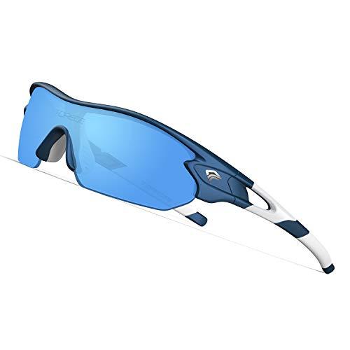 TOREGE Tr90 Flexible Kids Sports Sunglasses Polarized Glasses for Junior Boys Girls Age 3-12 TR04 (Matte Blue&Wihte&Blue Lens)