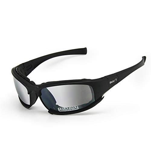 EnzoDate Polarisierte Daisy One X7 Armee Sonnenbrille, militärische Brille 4 Objektiv Kit Taktische Schutzbrille (schwarz, Übergang polarisiert)