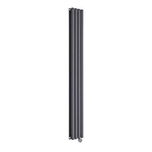 Hudson Reed Revive - Design Heizkörper Elektrisch Vertikal Doppellagig Anthrazit 1780mm x 236mm inkl. 1x 1200W Heizelemente