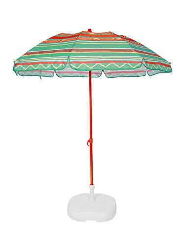Ezpeleta Sombrilla de Playa|Sombrilla terraza|Parasol Plegable|Protección Solar UPF 50+|Diámetro 155cm|Incluye Funda|Base no incluida|Barra de Colores|Tejido Estampado (Étnico Verde-Amarillo-Rojo)