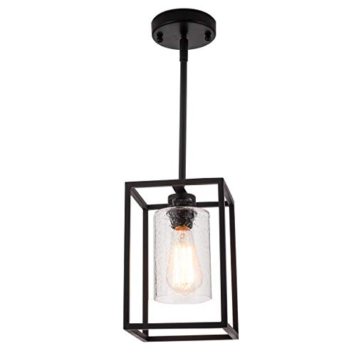 VILUXY Vintage Glass Pendant Light, Single Light Metal Cage Hanging Pendant Lighting, Black with Clear Seeded Glass Shade Classic for Farmhouse, Entryway, Dining Room, Kitchen Island, Foyer