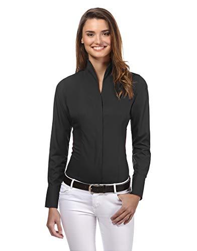 Vincenzo Boretti Damen Bluse mit Kelchkragen leicht tailliert 100% Baumwolle bügelleicht Langarm Hemdbluse mit Stehkragen elegant festlich auch für Business schwarz 36