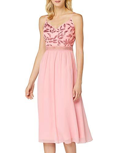 Marca Amazon - TRUTH & FABLE Vestido Midi de Gasa Mujer, Multicolor (Blush Leaf Lentejuelas/Bead), 46, Label: XXL