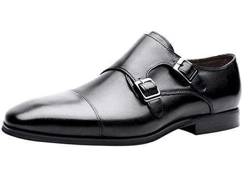 Zapatos para Hombre Piel Genuina Monk Doble Hebilla Formal Derby Negocio Zapatos...