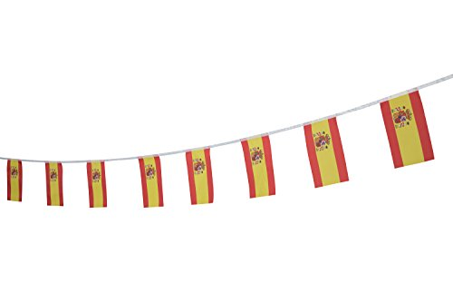 Kind Girl Spain Flag Spanish Flag,100Feet/76Pcs National Country World Pennant Flags Banner,Party Decorations Supplies for Olympics,Bar,Indoor and Outdoor Flags,Intarnational Festival