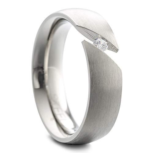 Heideman Ring Damen Paari Spannring aus Edelstahl silber farben matt oder poliert Damenring für Frauen mit Stein Zirkonia weiss im Brillantschliff Crystal Gr.57 hr7028-4-1-57
