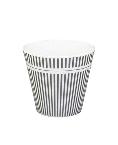 Krasilnikoff - Espressotasse, Espressobecher - Streifen - anthrazit, weiß - Höhe: 6 cm - ca. 90 ml - Porzellan
