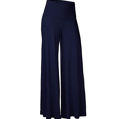 Mujeres Pantalones Largos Pierna Ancha Lino Vintage Cintura Alta Elástico