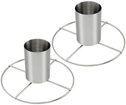 com-four® 2 Hähnchenbräter aus Edelstahl, Grill Geflügelhalter zum Garen von ganzen Hähnchen (02 Stück)