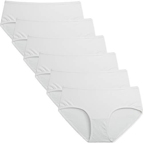 INNERSY Slip Donna Cotone Traspirante Mutande Sexy Bianco Estivo Pacco da 6 (L-EU 42, Bianco)