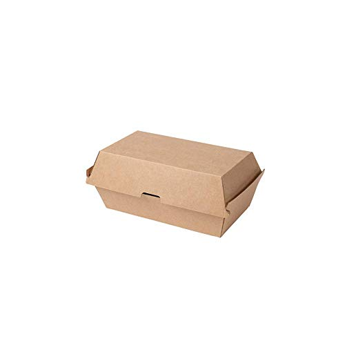 BIOZOYG Take Away Kraftkarton Box 50 Stück I robuste Fast Food Boxen mit hohem Klappdeckel I Snack Box aus Kraftkarton I stabile to Go Verpackung Karton braun 21,4x11,4x8,5 cm I biologisch abbaubar