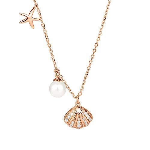 YNING S925 Collar de Concha de Perlas de Plata Esterlina/Oro de 18 Quilates/Longitud de Cadena Ajustable/Regalo para Niñas, Novia, Buenos Amigos/Simple y Elegante/Oro Plateado