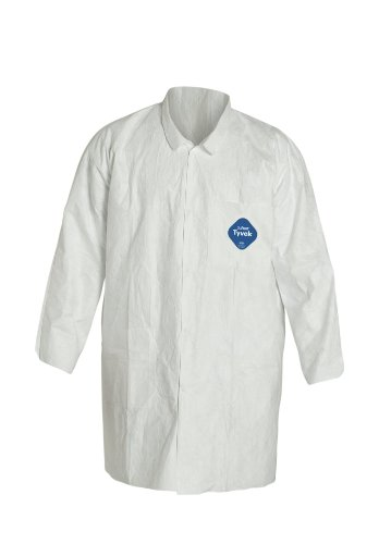 DuPont Tyvek 400 TY212S Individually Packed Disposable Lab Coat with Open Cuff for PPE Vending Machines, White, Medium (Pack of 30)