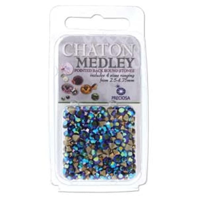 Preciosa Chaton Medley Mix Jet Ab 2.5mm to 4.75mm Pointed Foil Back Round Crystal Setting Stones 5 Grams