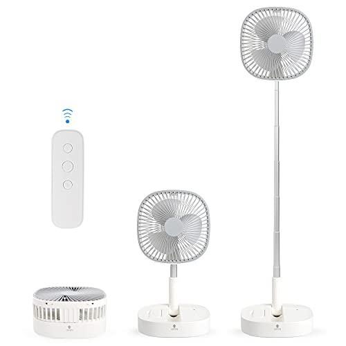 Portable Pedestal Fan - Foldaway Standing Fan Foldable Desk Fan, Wireless Use 7200Mah Rechargeable Battery, Remote Control Telescopic 4 Speed Quiet Timer Fan for Home Kitchen Outdoor Camping (Gray)