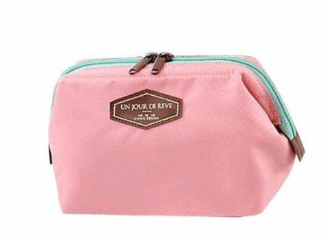 MoGist Trousse de Toilette Sac de Rangement Imperméable Sac de Voyage Maquillage Sac à Main Tissu de Coton Rose Sac à Main