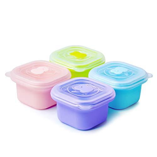 Termichy Babynahrung Aufbewahrung, 4 Stück Silikon-Babynahrungsbehälter mit Deckel, Kühlschrank aufeinandergestellte Aufbewahrung für Säuglingsnahrung (4X100ml)