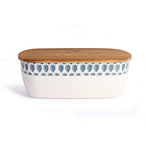 Brotkasten Bambus mit Holzdeckel Brotkorb Brotaufbewahrung Schneidebrett (Brotbehälter mit Deckel, 36 x 20 cm, Weiß Blau)