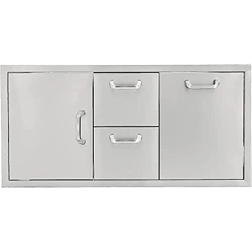 BBQGuys Signature 42-Inch Stainless Steel Door, Double Drawer & Roll-Out Trash Bin Combo - Traditional