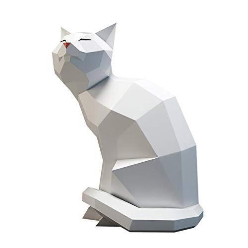Papercraft DIY 3D Kätzchen Papier Tiere Wanddeko Papercraft Building Kit Origami Papier Modell Ornament DIY Spielzeug für Kinder Kleinkinder (Papierstau Weiß)