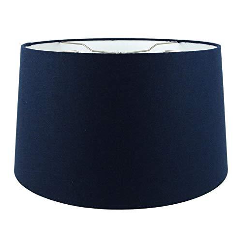 Mestar Navy Blue Fabric Hardback Drum Lampshade 15x17x10 (Spider)